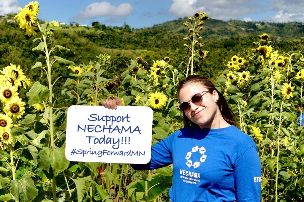 #SpringForwardMN sign being held by volunteer in Nechama shirt in a field of sunflowers