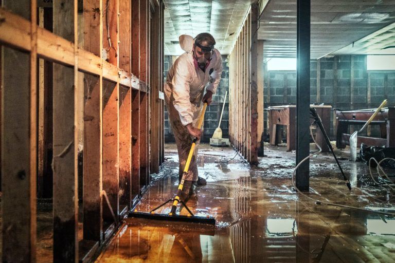 Flood and sewage- Ms. Damita's basement after flooding in Detroit